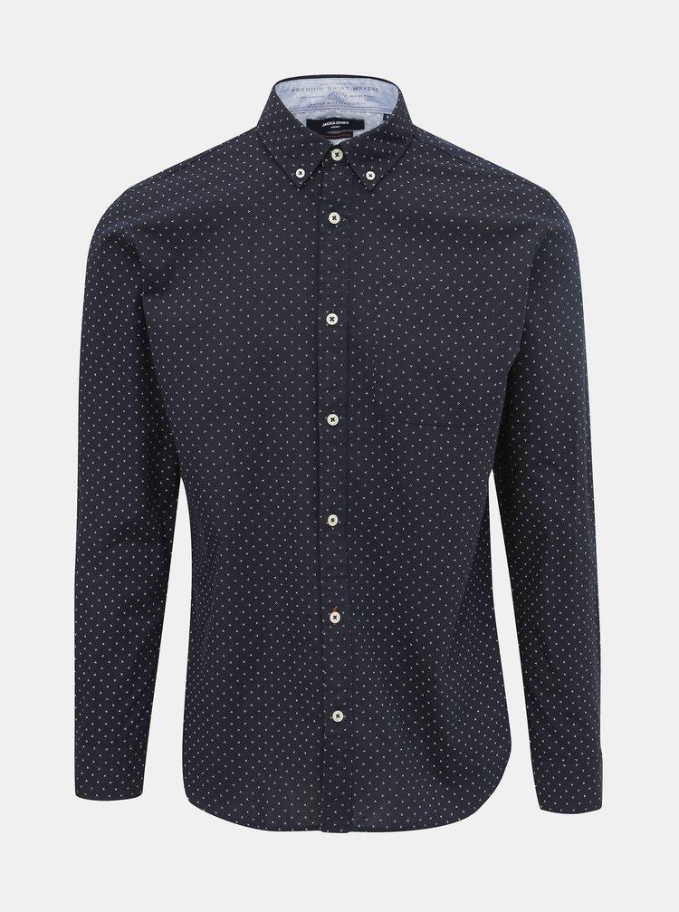 Tmavomodrá vzorovaná košeľa Jack & Jones Steve