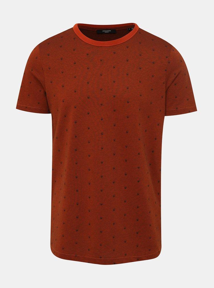 Hnedé vzorované tričko Jack & Jones Slate