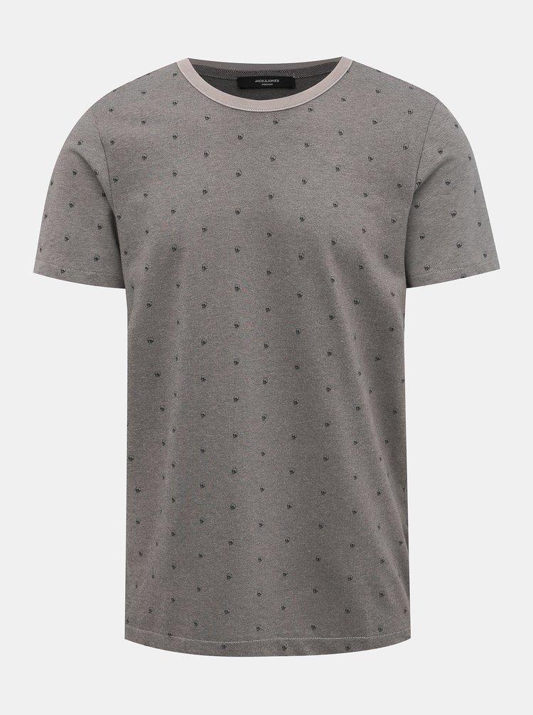 Šedé vzorované tričko Jack & Jones Slate