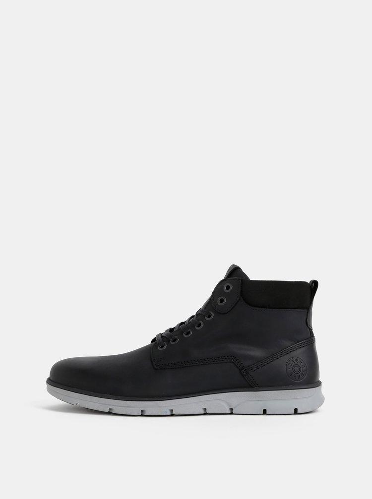 Černé pánské kožené kotníkové boty Jack & Jones Tubar
