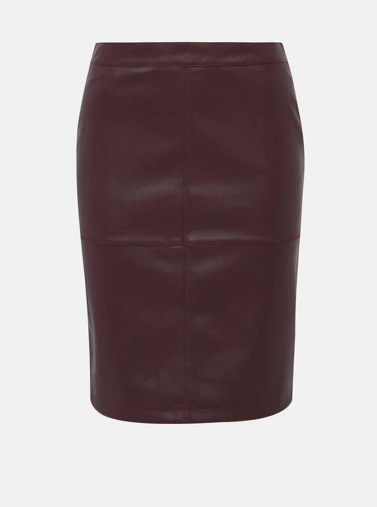 Vínová koženková sukňa VILA Pen