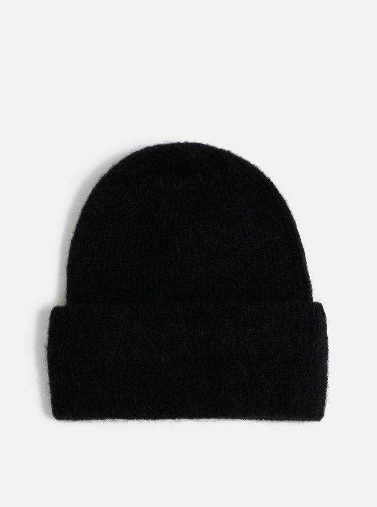 Čierna vlnená čapica Pieces Josefine