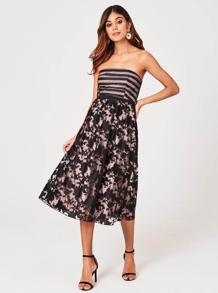 Béžovo-černé květované šaty s odhalenými rameny Little Mistress