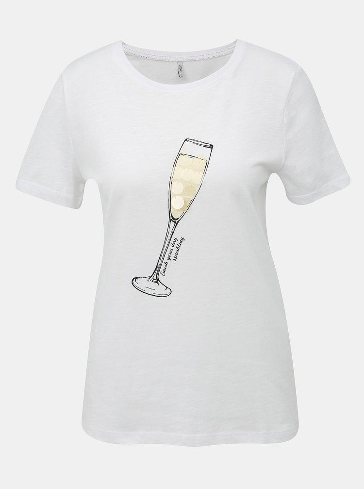 Biele tričko s potlačou ONLY Caty