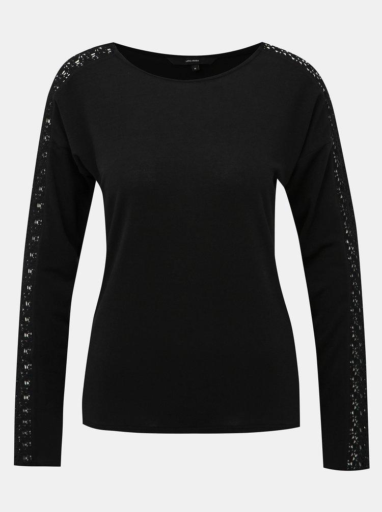 Čierne tričko s krajkou VERO MODA Celena
