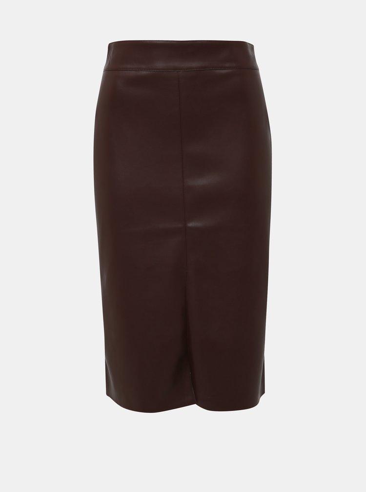 Hnědá koženková sukně Dorothy Perkins