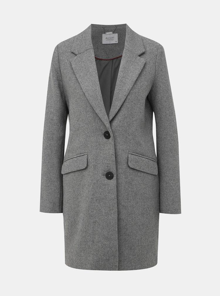 Šedý dámsky zimný kabát s prímesou vlny Alcott