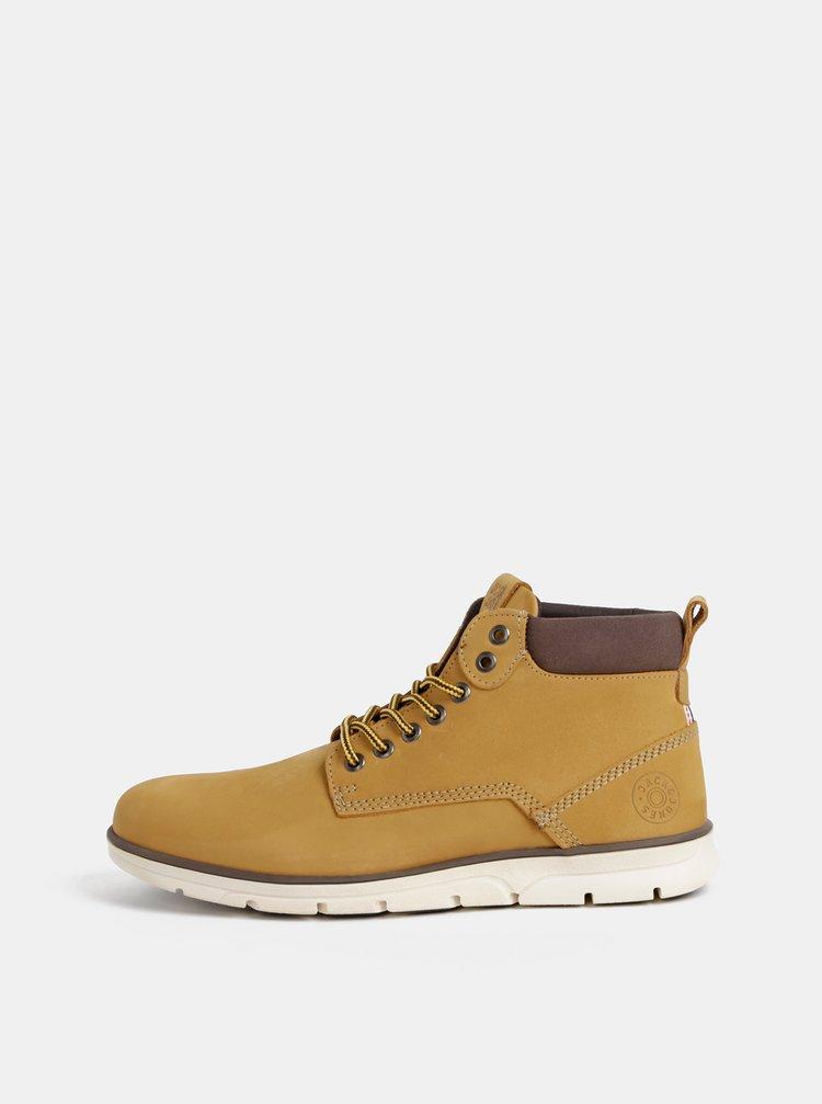 Horčicové pánske kožené kotníkové topánky Jack & Jones Tubar