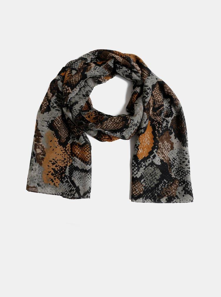 Hnědo-šedý šátek s hadím vzorem Pieces Hannah