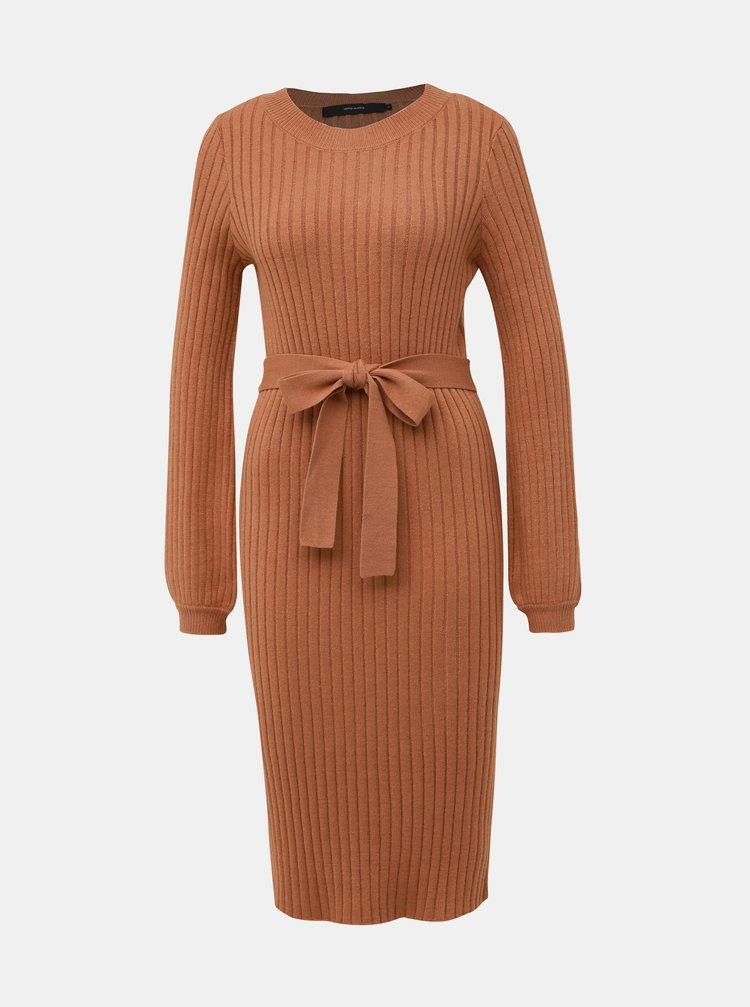 Hnedé svetrové šaty VERO MODA Svea