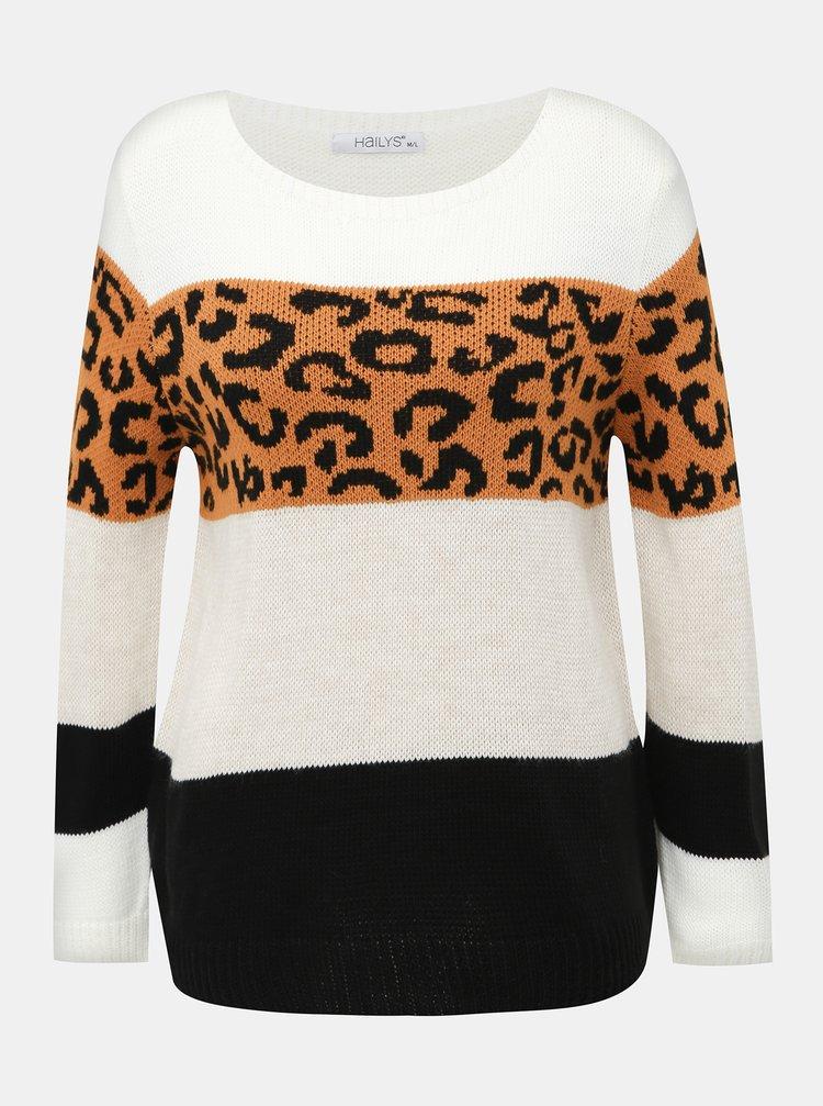 Biely dámsky sveter s leopardím vzorom Haily´s Sloan