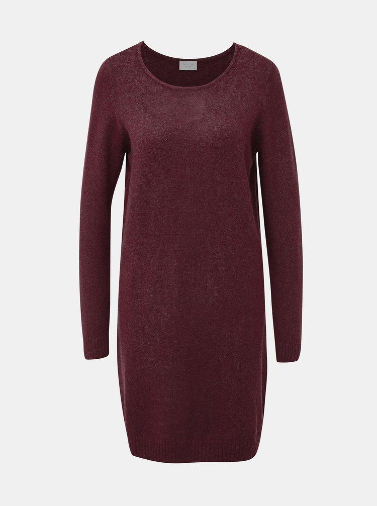 Vínové svetrové šaty VILA Viril
