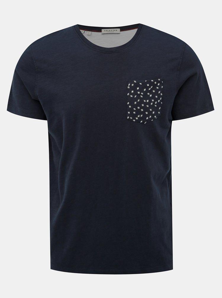 Tmavomodré tričko Selected Homme Jorn