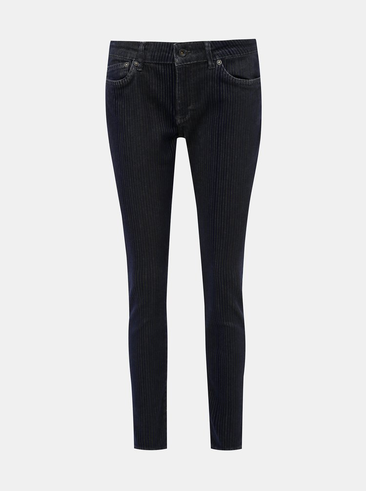 Tmavomodré dámske skinny fit rifle so sametovými pruhmi Pepe Jeans Pixie