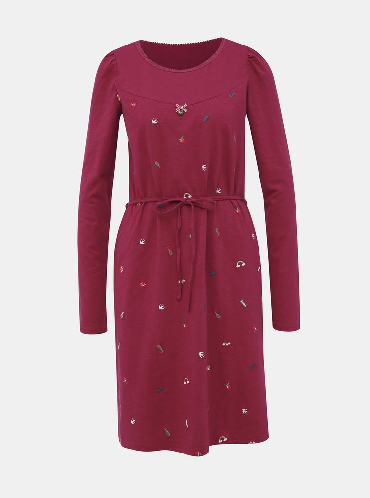 Tmavoružové šaty s výšivkou Blutsgeschwister Mrs Spock