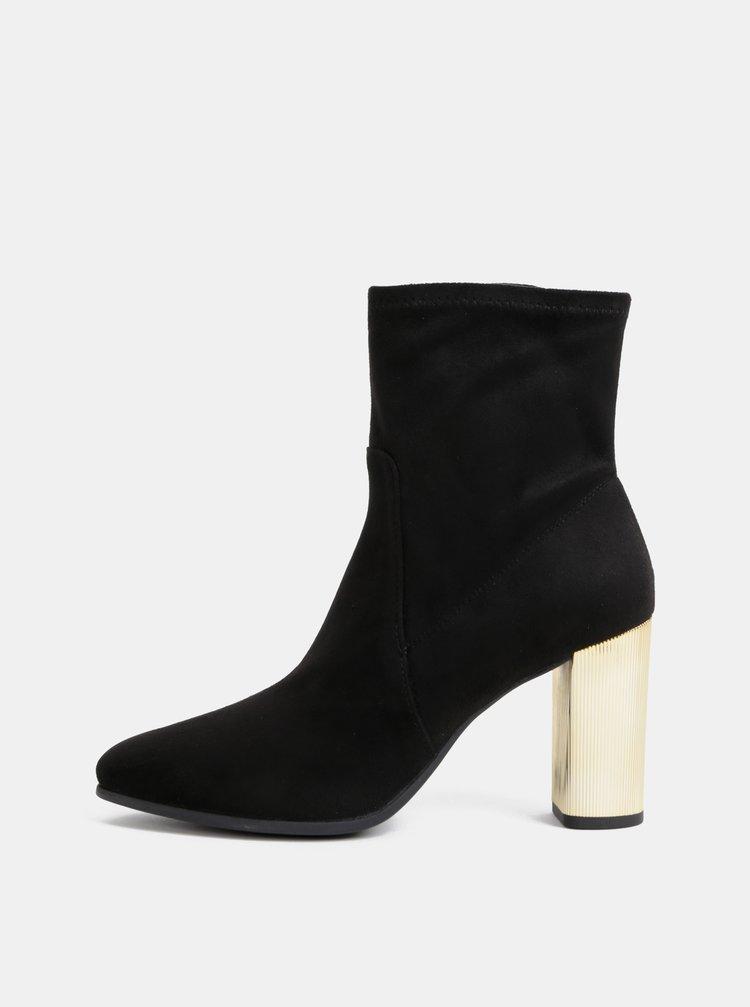 Čierne dámske kotníkové topánky v semišovej úprave Geox Peython
