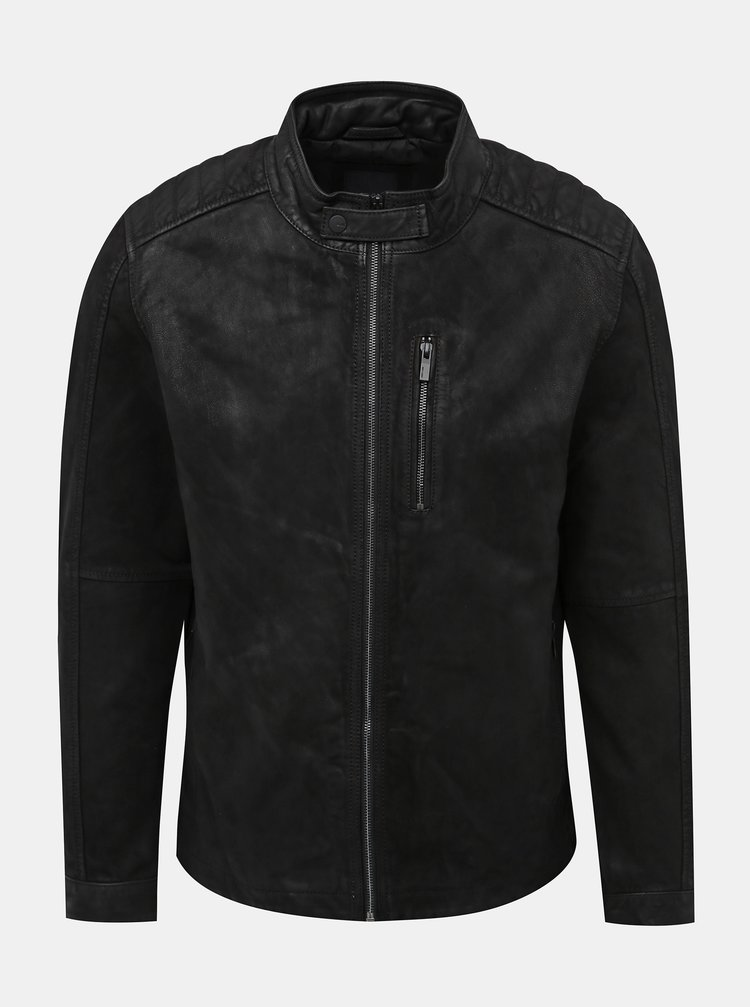 Čierna kožená bunda ONLY & SONS Robert