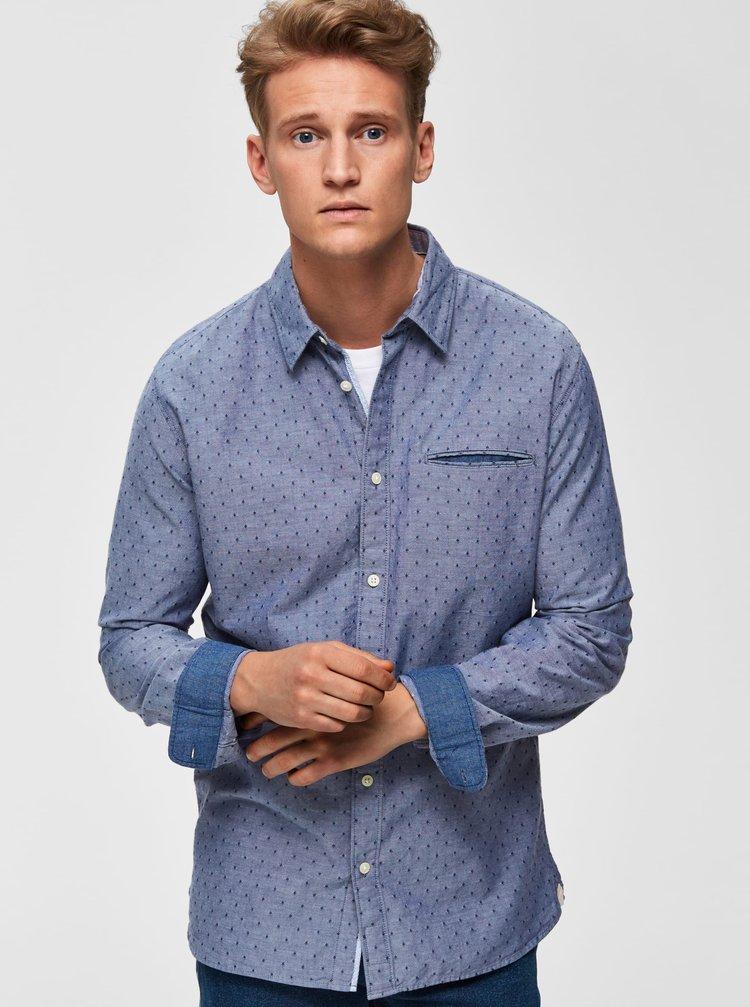 Modrá vzorovaná slim fit košeľa Selected Homme Bob