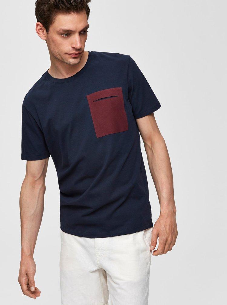 Tmavě modré tričko Selected Homme Ian
