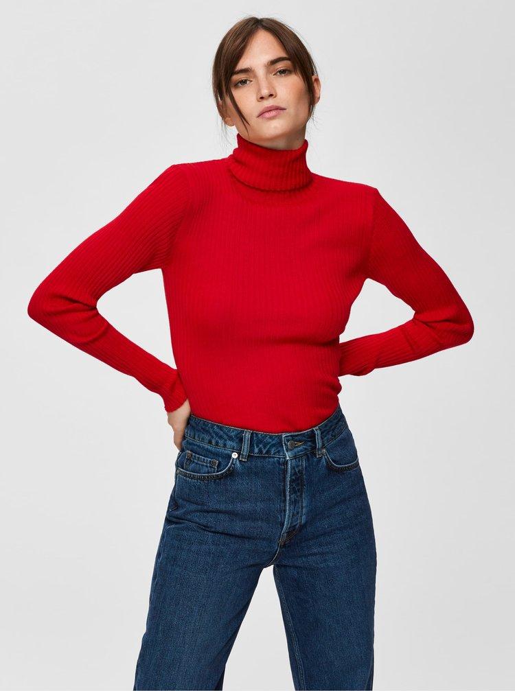 Červený žebrovaný vlněný rolák Selected Femme Costa