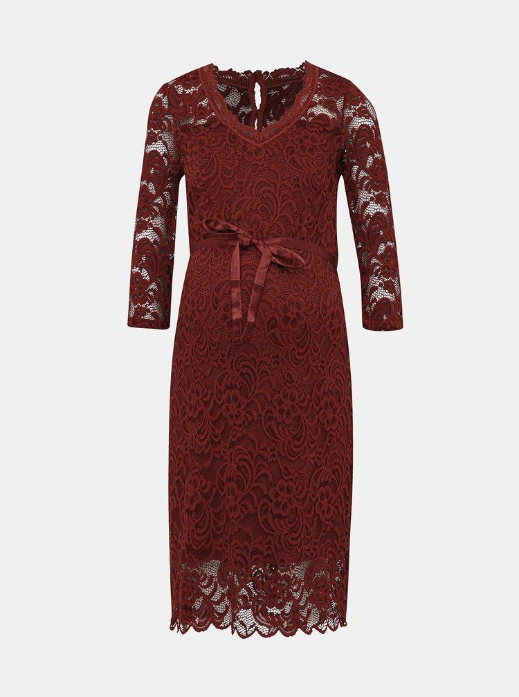 Červené krajkové tehotenské púzdrové šaty Mama.licious Mivana