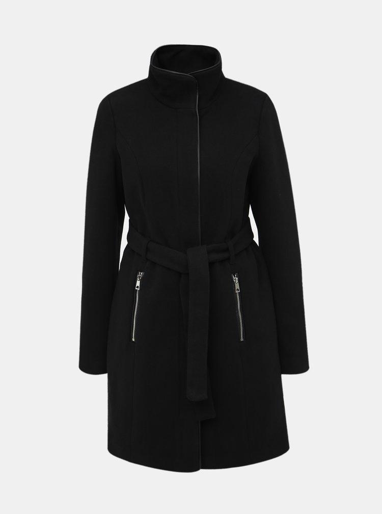 Čierny kabát s prímesou vlny VERO MODA Bessy