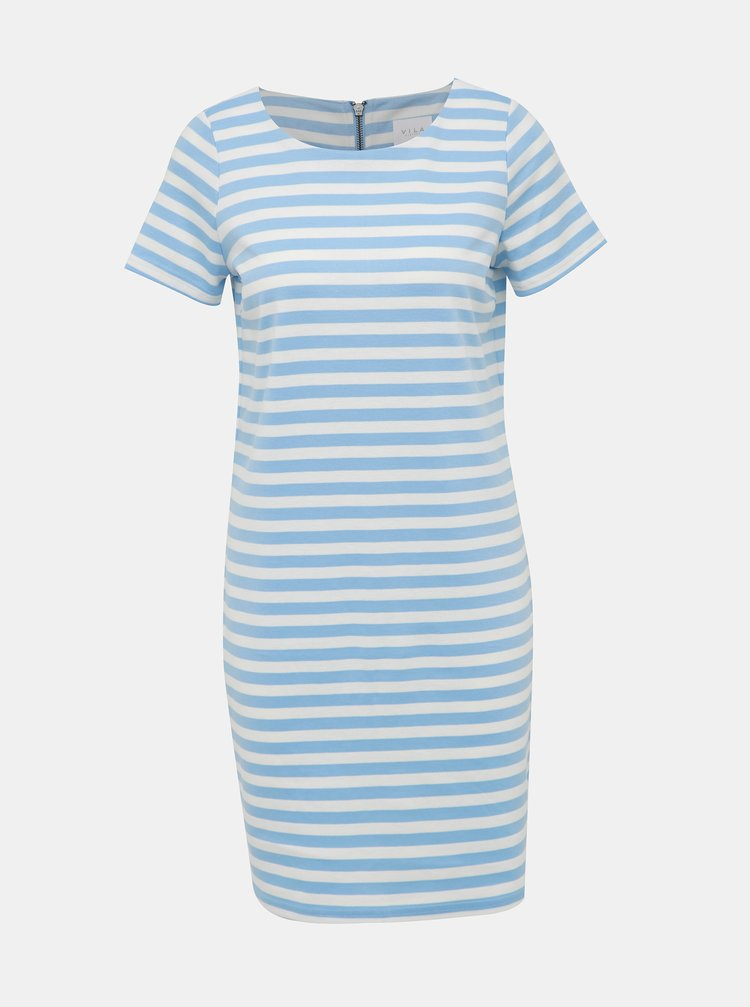 Bielo-modré pruhované basic šaty VILA Tinny