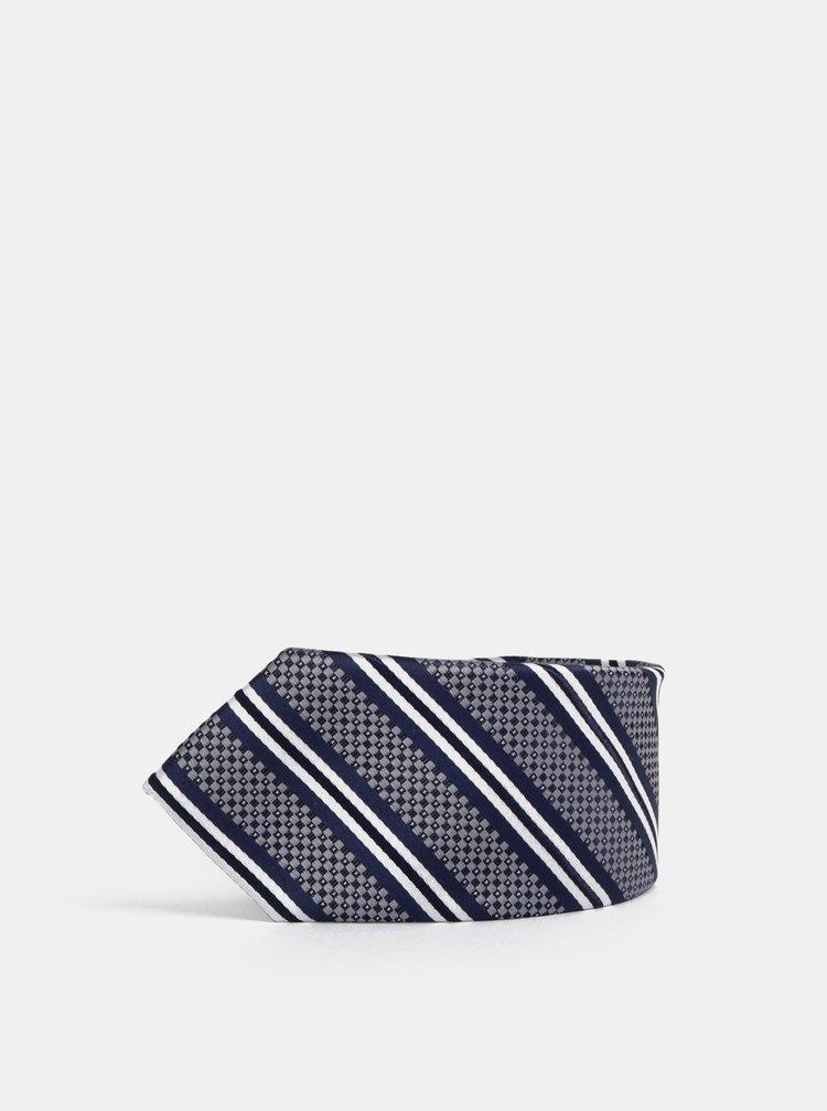 Modrá vzorovaná slim kravata Burton Menswear London