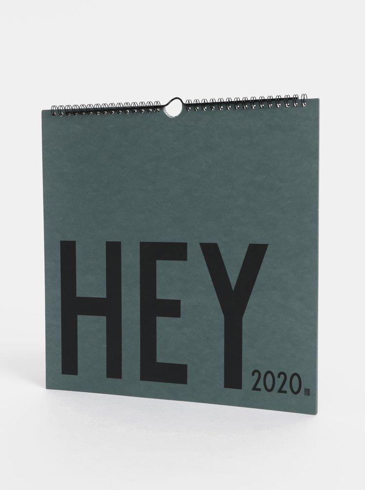 Zelený nástěnný kalendář se samolepkami Design Letters 2020