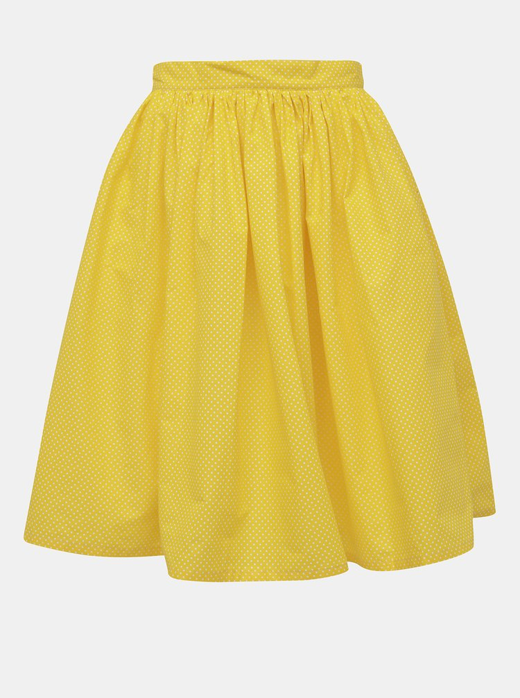 Žltá bodkovaná kruhová sukňa MONLEMON