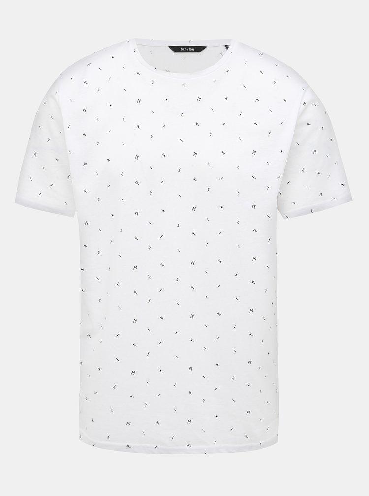Bílé vzorované tričko ONLY & SONS Boaz