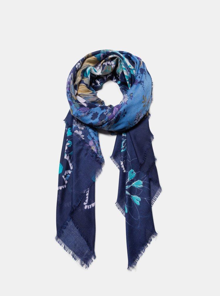 Modrá kvetovaná šatka Desigual Flower Patch