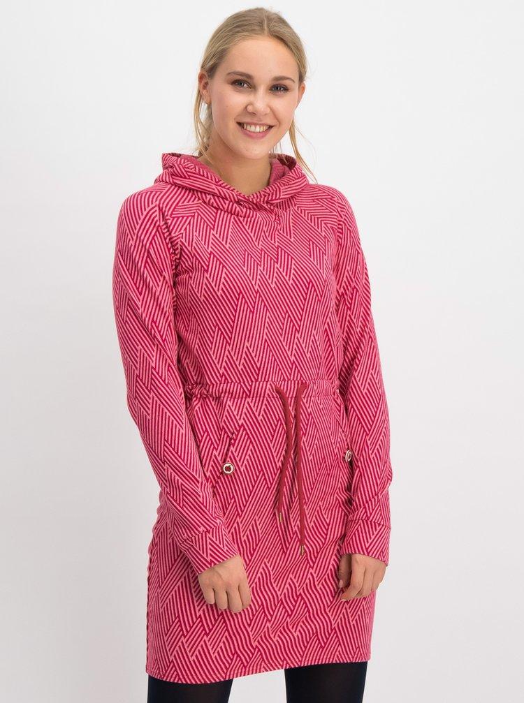 Růžové vzorované mikinové šaty Blutsgeschwister Welcome home