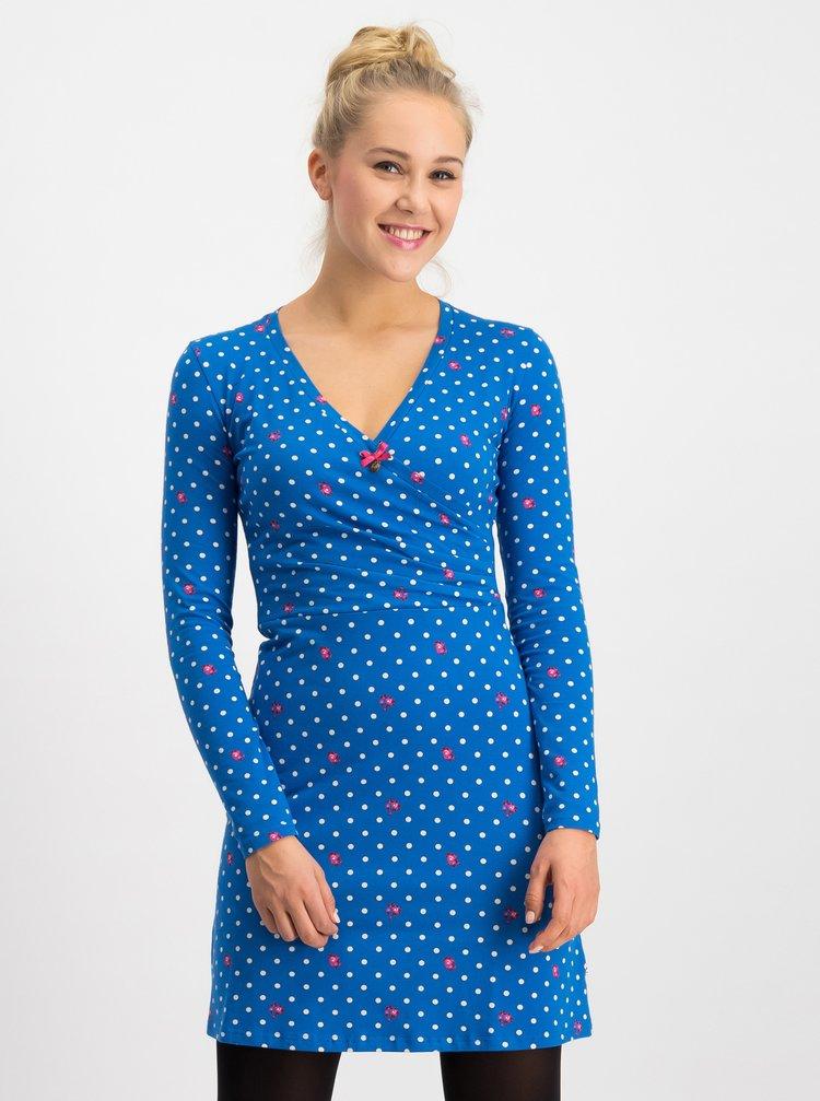Modré bodkované šaty Blutsgeschwister Emerald
