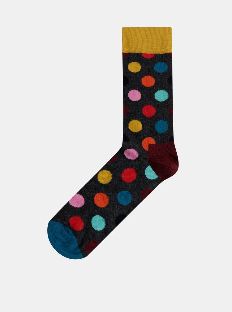 Tmavošedé pánske bodkované ponožky Happy Socks Big Dot