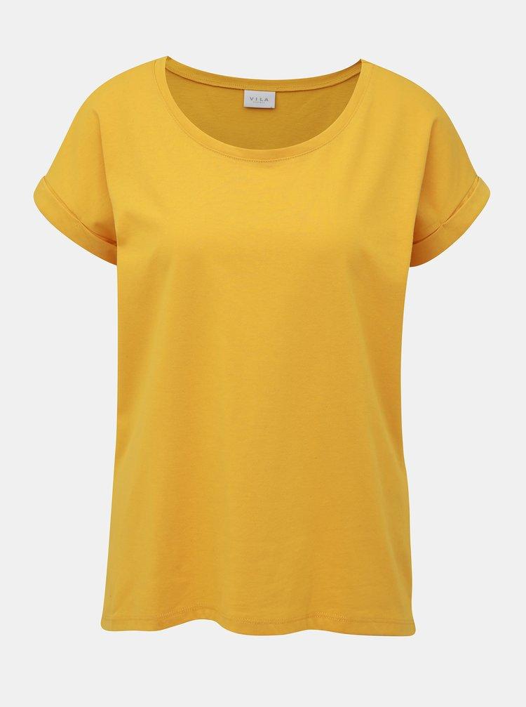 Žluté basic tričko VILA Dreamers