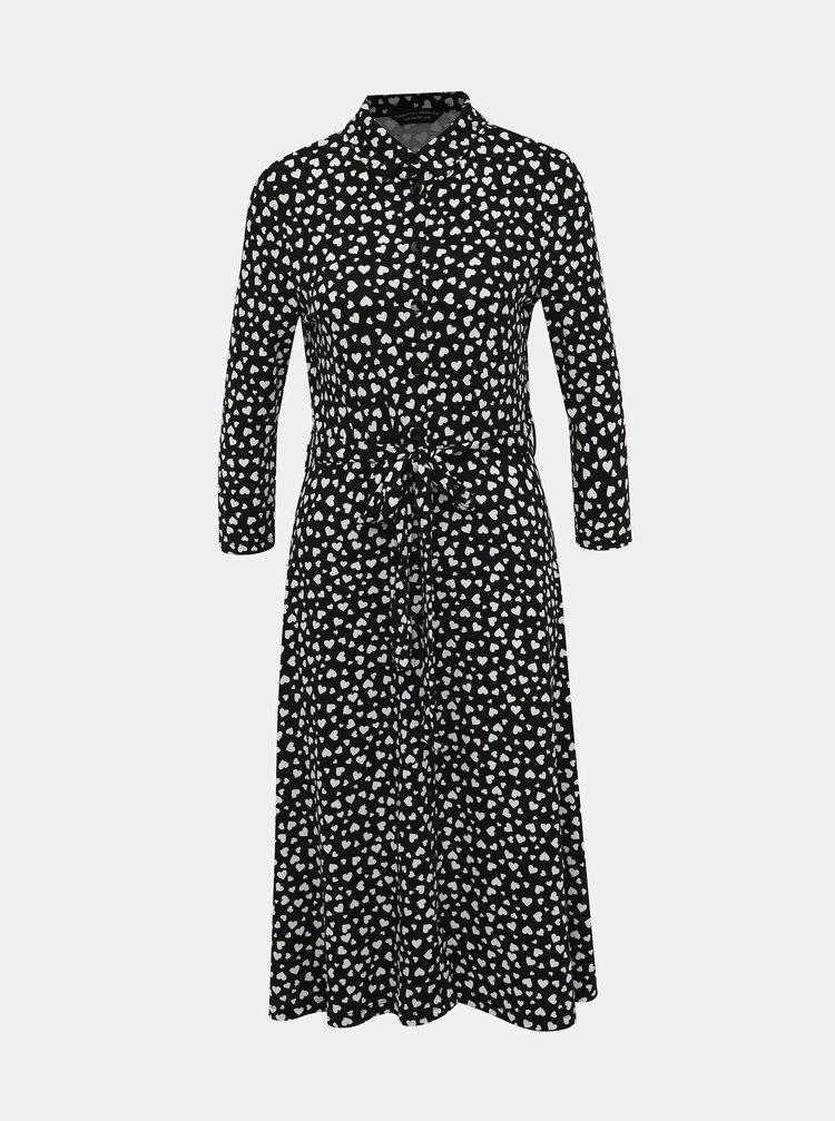 Čierne košeľové vzorované midišaty Dorothy Perkins