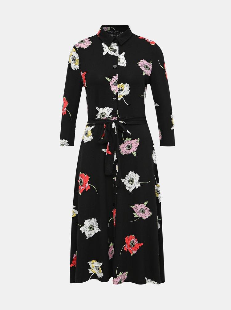 Čierne košeľové kvetované midišaty Dorothy Perkins