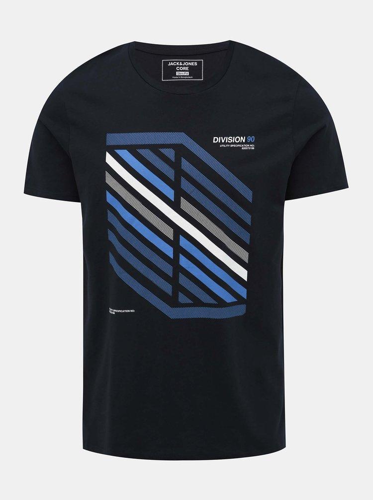 Tmavě modré tričko s potiskem Jack & Jones Booster