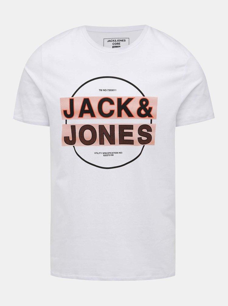 Bílé tričko s potiskem Jack & Jones Booster