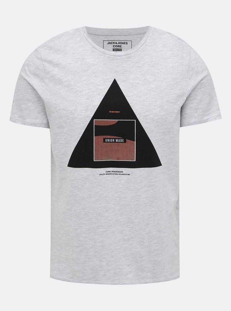 Svetlošedé tričko s potlačou Jack & Jones Booster