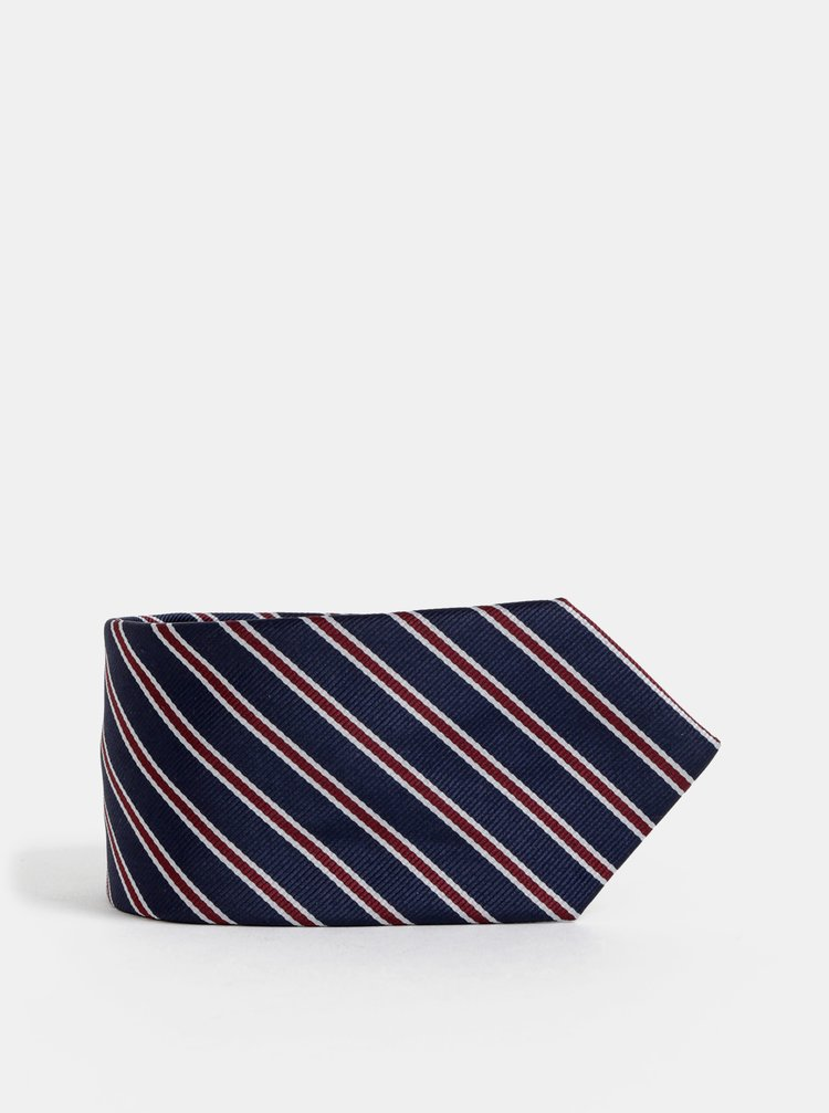 Tmavě modrá pruhovaná slim kravata Selected Homme Martin