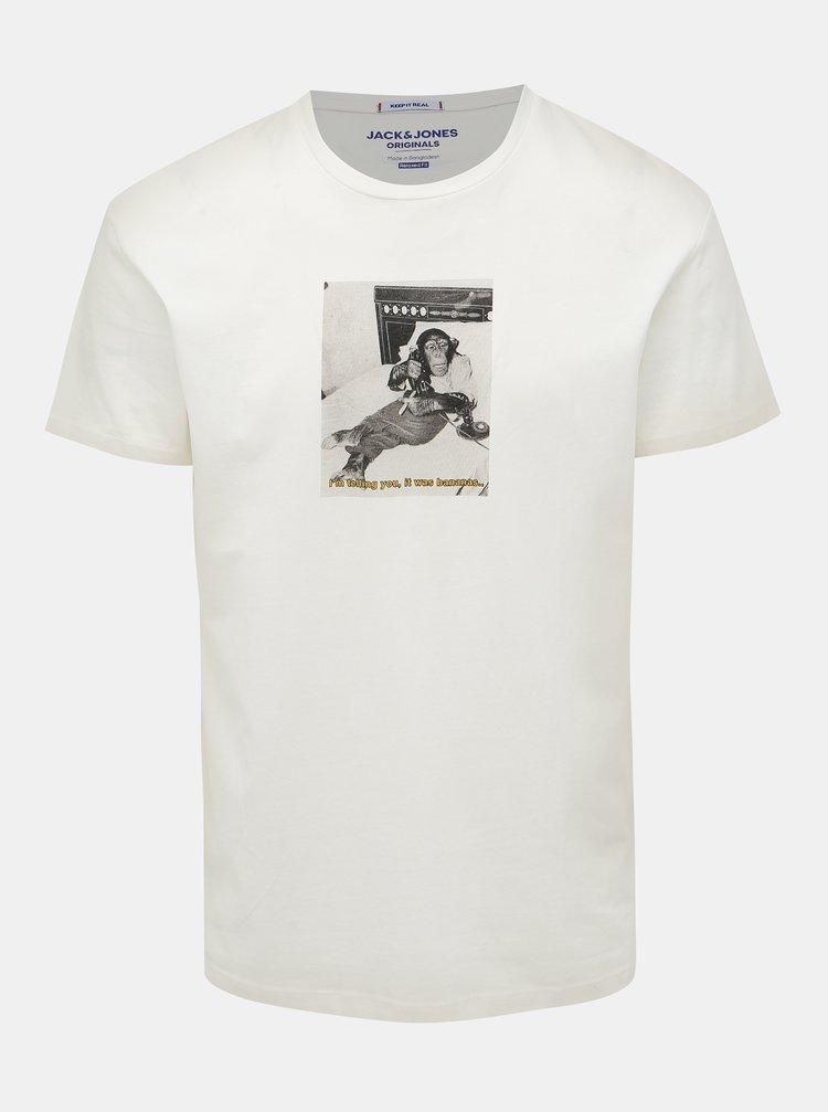 Bílé tričko s potiskem Jack & Jones Gilbert