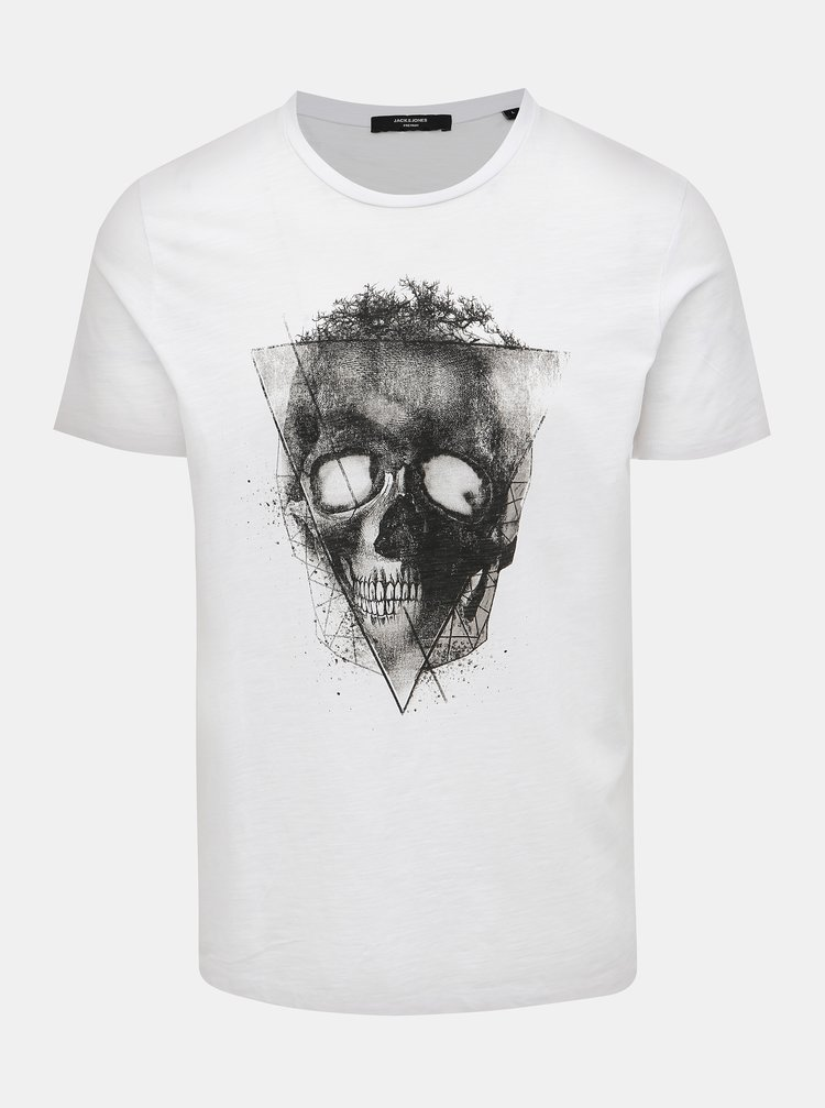 Biele tričko s potrhanými lemami Jack & Jones Wight