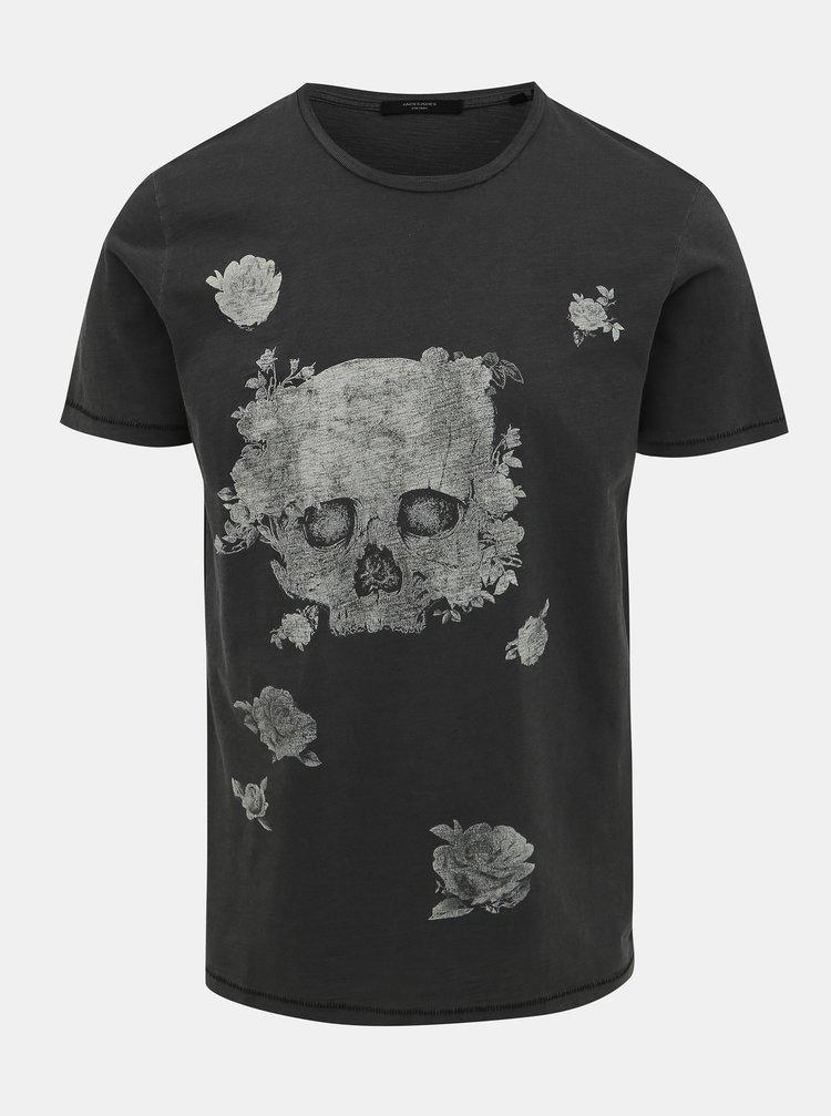 Šedé tričko s potrhanými lemami Jack & Jones Wight