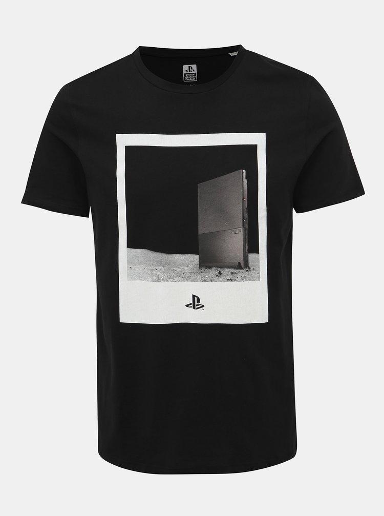 Čierne tričko s potlačou Jack & Jones Sega