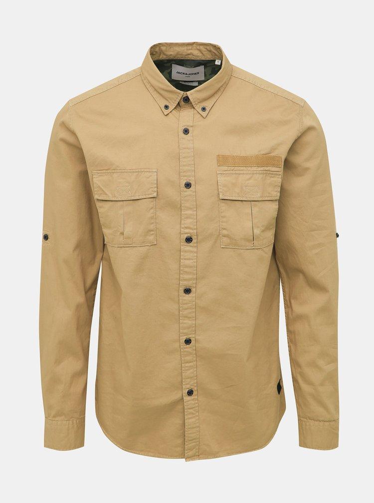 Béžová slim fit košeľa Jack & Jones Porter