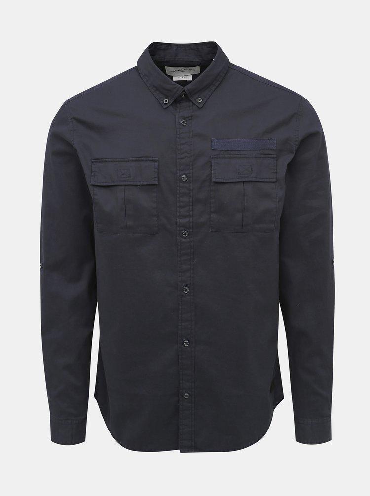 Tmavomodrá slim fit košeľa Jack & Jones Porter