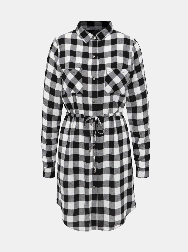 Čierno-biele kockované košeľové šaty Haily´s Wanda