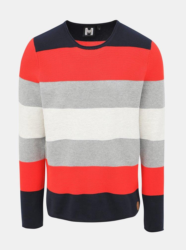 Červeno-šedý pánsky pruhovaný sveter Haily´s Finn